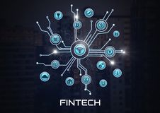 Fintech with various business icons interface in city. Digital composite of Fintech with various business icons interface in city Royalty Free Stock Image