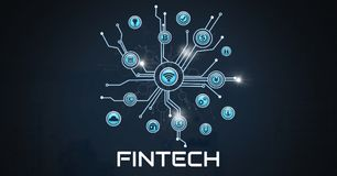 Fintech with various business icons interface. Digital composite of Fintech with various business icons interface Stock Photo