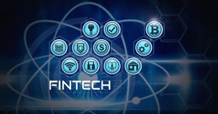 Fintech various business icons with technology. Digital composite of Fintech various business icons with technology Stock Images