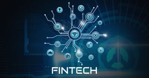 Fintech various business icons with technology. Digital composite of Fintech various business icons with technology Stock Image