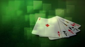 Five cards falling on the ground. Digital composite of five cards falling on the ground against a green background. Light green colored cubes move on the stock footage