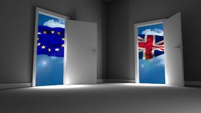 Flags of the EU and UK waving vector illustration