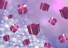 Floating Gift boxes and Snowflake Christmas pattern. Digital composite of Floating Gift boxes and Snowflake Christmas pattern Stock Photos