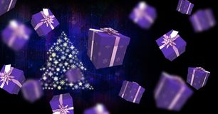 Floating gift boxes and Snowflake Christmas tree pattern shape Stock Photography