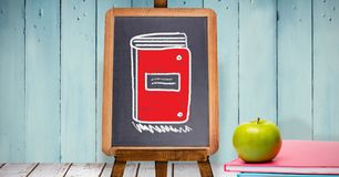 Folder notes education drawing on blackboard for school. Digital composite of Folder notes education drawing on blackboard for school royalty free stock photography