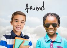 Friend text with Happy kids with blank background Stock Photo