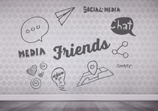 Friends and social media text in room. Digital composite of friends and social media text in room Royalty Free Stock Photos