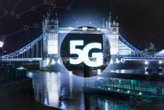 5G or LTE presentation. London modern city on the background Royalty Free Stock Images