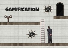 Gamification text and Businessman in Computer Game Level with key and traps. Digital composite of Gamification text and Businessman in Computer Game Level with Royalty Free Stock Image