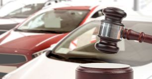 Gavel and cars auction Stock Images