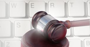 Gavel and keyboard. Digital composite of Gavel and keyboard Stock Photos