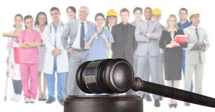 Gavel and people working in various professions. Digital composite of Gavel and people working in various professions stock photos