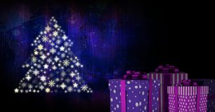 Gift boxes and Snowflake Christmas tree pattern shape Stock Photography