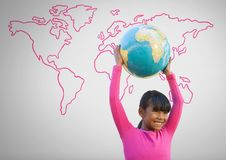 Girl against grey background with world globe and world map. Digital composite of Girl against grey background with world globe and world map Royalty Free Stock Image