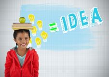 Girl balancing books on head with colorful idea graphics Royalty Free Stock Image