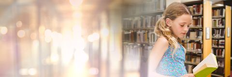 Girl in education library with transition. Digital composite of Girl in education library with transition stock image