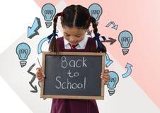 Girl holding back to school blackboard with light bulbs. Digital composite of Girl holding back to school blackboard with light bulbs Stock Photos