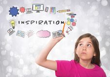 Girl touching Inspiration graphics with sparkling lights bokeh background Royalty Free Stock Photo