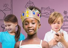 Girl wearing crown with friends in front of purple background with home graphics royalty free stock photography