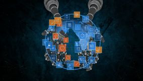 Globe held by robot arms stock illustration