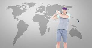 Golf woman with world map. Digital composite of Golf woman with world map royalty free stock photography