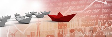 Group of 3d money boats on background with graph. Digital composite of Group of 3d money boats on background with graph Royalty Free Stock Images