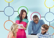Group meeting and Colorful mind map over bright background Royalty Free Stock Photos