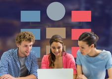 Group meeting and Colorful mind map over dark background Royalty Free Stock Image