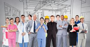 Group of people with different professions standing in front of factory drawing. Digital composite of Group of people with different professions standing in Stock Photo