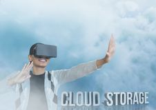 Guy with vr in cloud storage. Digital composite of guy with vr in cloud storage Stock Images