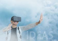Guy with vr in clouds ideas. Digital composite of guy with vr in clouds ideas Stock Photos