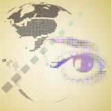 Digital composite of halftone human eye and abstract technology Royalty Free Stock Photos