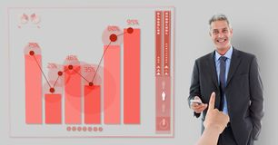Hand choosing a business man on grey background with graph vector illustration