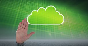 Hand with cloud icon and green technology background. Digital composite of Hand with cloud icon and green technology background Royalty Free Stock Photos
