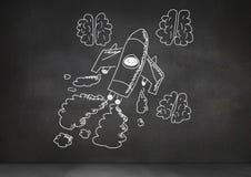 Hand-drawn rocket and brains on blackboard. Digital composite of hand-drawn rocket and brains on blackboard Stock Photography