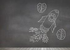Hand-drawn rocket and brains on blackboard. Digital composite of hand-drawn rocket and brains on blackboard Royalty Free Stock Image