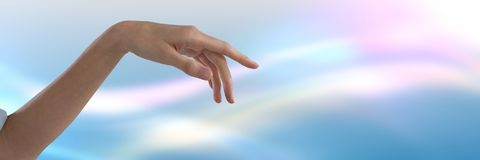 Hand pointing and limp with bright background. Digital composite of Hand pointing and limp with bright background Stock Photo