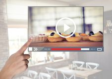 Hand touching Cafe Baking cakes video player App Interface stock photography