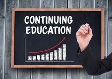 Hand writing Continuing education on blackboard Royalty Free Stock Photos