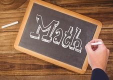 Hand writing Math text on blackboard. Digital composite of Hand writing Math text on blackboard royalty free stock images
