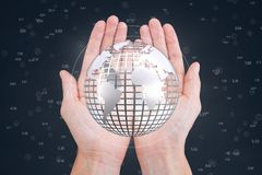 Hands holding a globe with connectors. Digital composite of Hands holding a globe with connectors Royalty Free Stock Photo