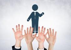 Hands waving open and man icon waving. Digital composite of Hands waving open and man icon waving royalty free stock photos