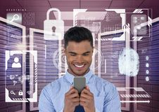 Happy business man holding a phone and graphics in server room. Digital composite of Happy business man holding a phone and graphics in server room Stock Photo