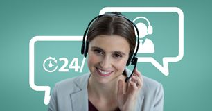 Happy customer care assistant woman against customer care background. Digital composite of Happy customer care assistant woman against customer care background Royalty Free Stock Images