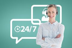 Happy customer care assistant woman against customer care background. Digital composite of Happy customer care assistant women against customer care background Stock Image