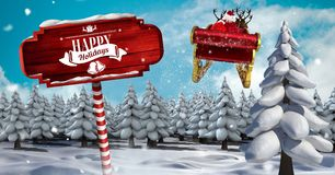 Happy Holidays text on Wooden signpost in Christmas Winter landscape and Santa`s sleigh and reindeer. Digital composite of Happy Holidays text on Wooden signpost vector illustration