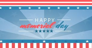 Happy memorial day with red white and blue stars and stripes background. Digital composite of happy memorial day with red white and blue stars and stripes Stock Images