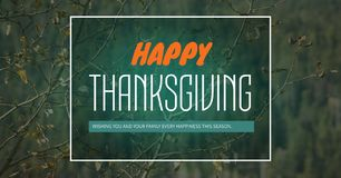 Happy thanksgiving text with forest trees. Digital composite of Happy thanksgiving text with forest trees Royalty Free Stock Photography