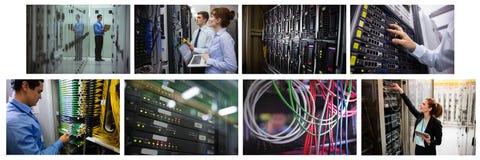 Hardware server room collage. Digital composite of hardware server room collage royalty free stock image