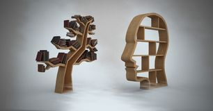 Head and tree bookshelf of knowledge with grey background Stock Photography